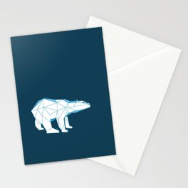 Blue geo polar bear looking for love.. Stationery Cards