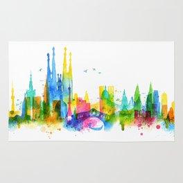Silhouette overlay city Rug
