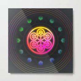 Neon Geometric Glyph Mandala Sigil Rune Radial Yellow and Pink - 097 Metal Print