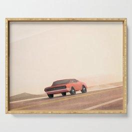 Fast muscle car, speeding through the desert Serving Tray