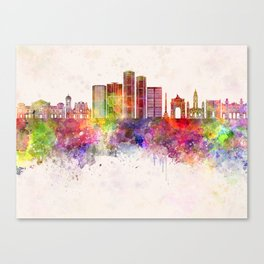 Caracas V2 skyline in watercolor background Canvas Print