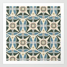 Blue Tulips - Circle Pattern Art Print