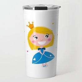 Happy smiling cute blond princess / Blue Travel Mug