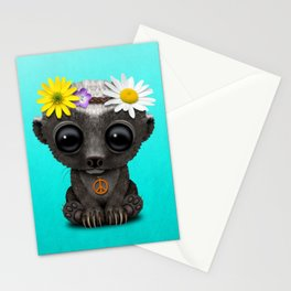Cute Baby Honey Badger Hippie Stationery Cards