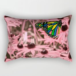 Surreal Monarch on Pink Flowers Rectangular Pillow
