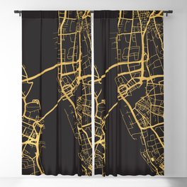 LIVERPOOL ENGLAND GOLD ON BLACK CITY MAP Blackout Curtain