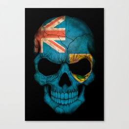 Dark Skull with Flag of Turks and Caicos Canvas Print