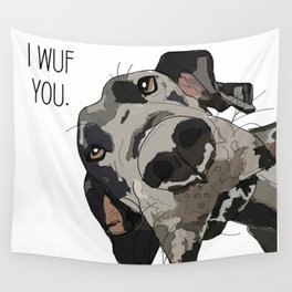 I Wuf You - Great Dane Wall Tapestry