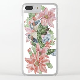 Watercolor Birds and Flowers Clear iPhone Case