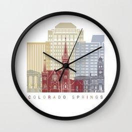 Colorado Springs skyline poster Wall Clock
