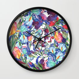 Hand painted artistic pink teal blue watercolor irises floral pattern Wall Clock