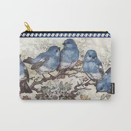 Vintage Blue Birds Carry-All Pouch