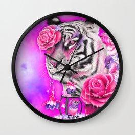 Fuschia Tiger - Sheena Pike  Wall Clock