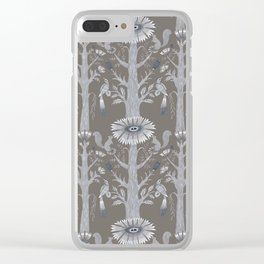 Grey Floral Woods Clear iPhone Case