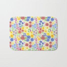 Floral watercolor pattern white Bath Mat
