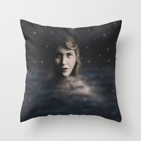 sylvia plath Throw Pillows featuring Sylvia Plath by JacquelinePatrice