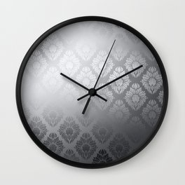 """Neutral gray Damask Pattern"" Wall Clock"