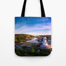 Sunset over old fishing port - Aerial Photography Tote Bag