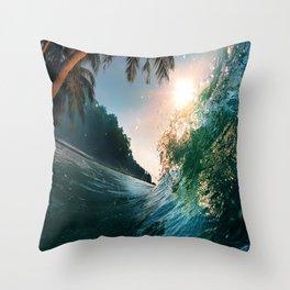 Photography - Beach - Waves - Palm Trees - Ocean  Throw Pillow