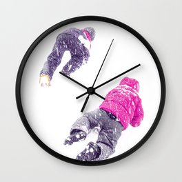 Kids Playing In The Snow Wall Clock
