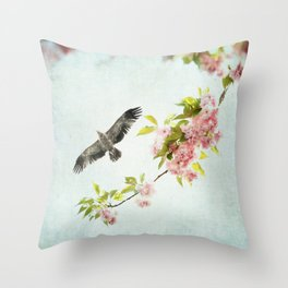 Bird and Flowering Branch Throw Pillow