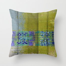 Olive & Blue Abstract Art Collage Throw Pillow