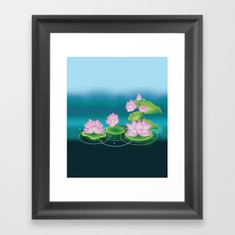 Lotus Flower with Leaves Framed Art Print