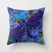dragonfly Throw Pillows featuring Dragonfly  by Saundra Myles