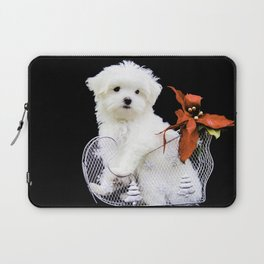 Lancelot the Maltese Puppy in Silver Sled with Red Christmas Poinsettia Laptop Sleeve
