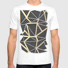 Ab Lines 2 Gold White SMALL Mens Fitted Tee