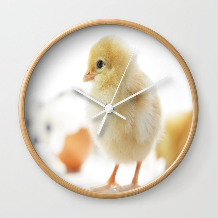 Baby Of The Family Cute Chicken Chick Wall Clock By Tanjariedel