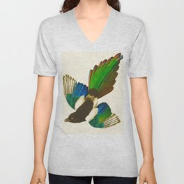 Magpie Vintage Scientific Bird Illustration Unisex V-Neck