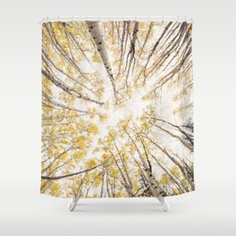 fall looking up Shower Curtain