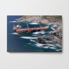 The shipwreck near Vori in Andros island, Greece Metal Print