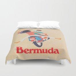 Bermuda on a Scooter Vintage Travel Duvet Cover