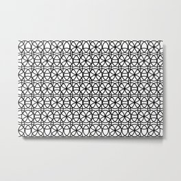 Circle Heaven Black and White, Overlapping Ring Pattern Illustration Metal Print