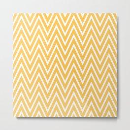 Yellow & White Chevron Pattern  Metal Print