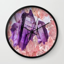 PURPLE AMETHYST & PINK CRYSTALS DESIGN Wall Clock
