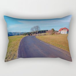 Country road, scenery and blues sky | landscape photography Rectangular Pillow