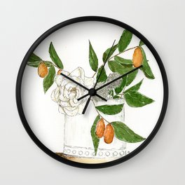 Kumquats and Green Leaves Wall Clock