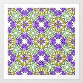 Purple and Green Botanical Floral Fern Pattern Art Print