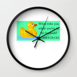 Robber Ducky Funny Duck Pun Wall Clock