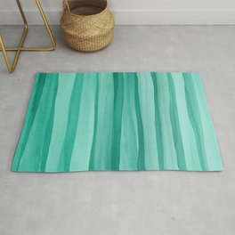 Green Watercolor Lines Pattern Rug