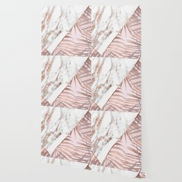 Rose gold marble & tropical ferns Wallpaper