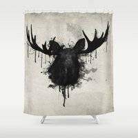 moose Shower Curtains featuring Moose by Nicklas Gustafsson