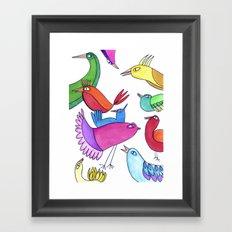 gossipy birds Framed Art Print