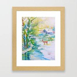 Winter landscape, snow stream and deer Framed Art Print