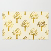 gold foil Area & Throw Rugs featuring Cream Gold Foil 02 by Aloke Design