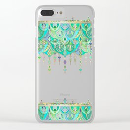 Art Deco Double Drop in Jade and Aquamarine on Cream Clear iPhone Case