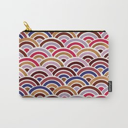Japanese Seigaiha Wave – Mauve & Gold Palette Carry-All Pouch